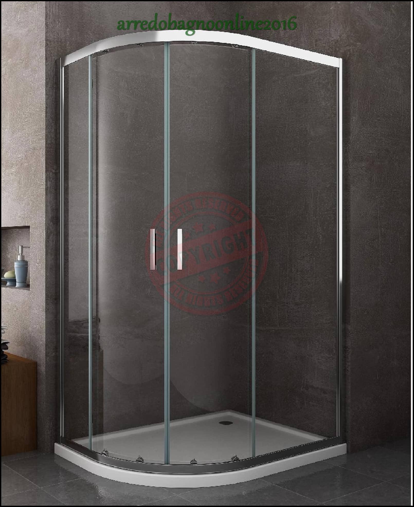 Box cabina piatto doccia incluso 80x120 destro curvo asimmetrico semicircolare ebay - Doccia senza piatto doccia ...