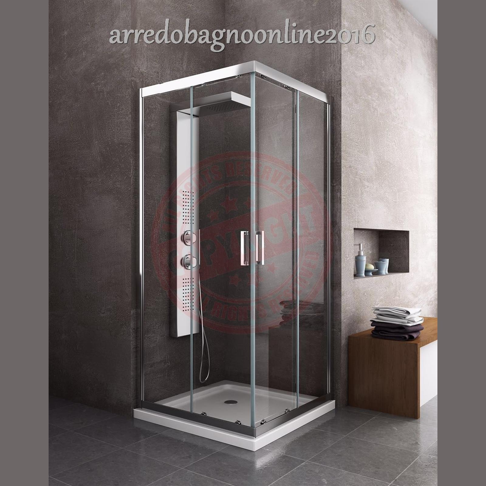 Box doccia quadrato 75x75 cabina bagno vetro temperato 6 for Un bagno in cabina