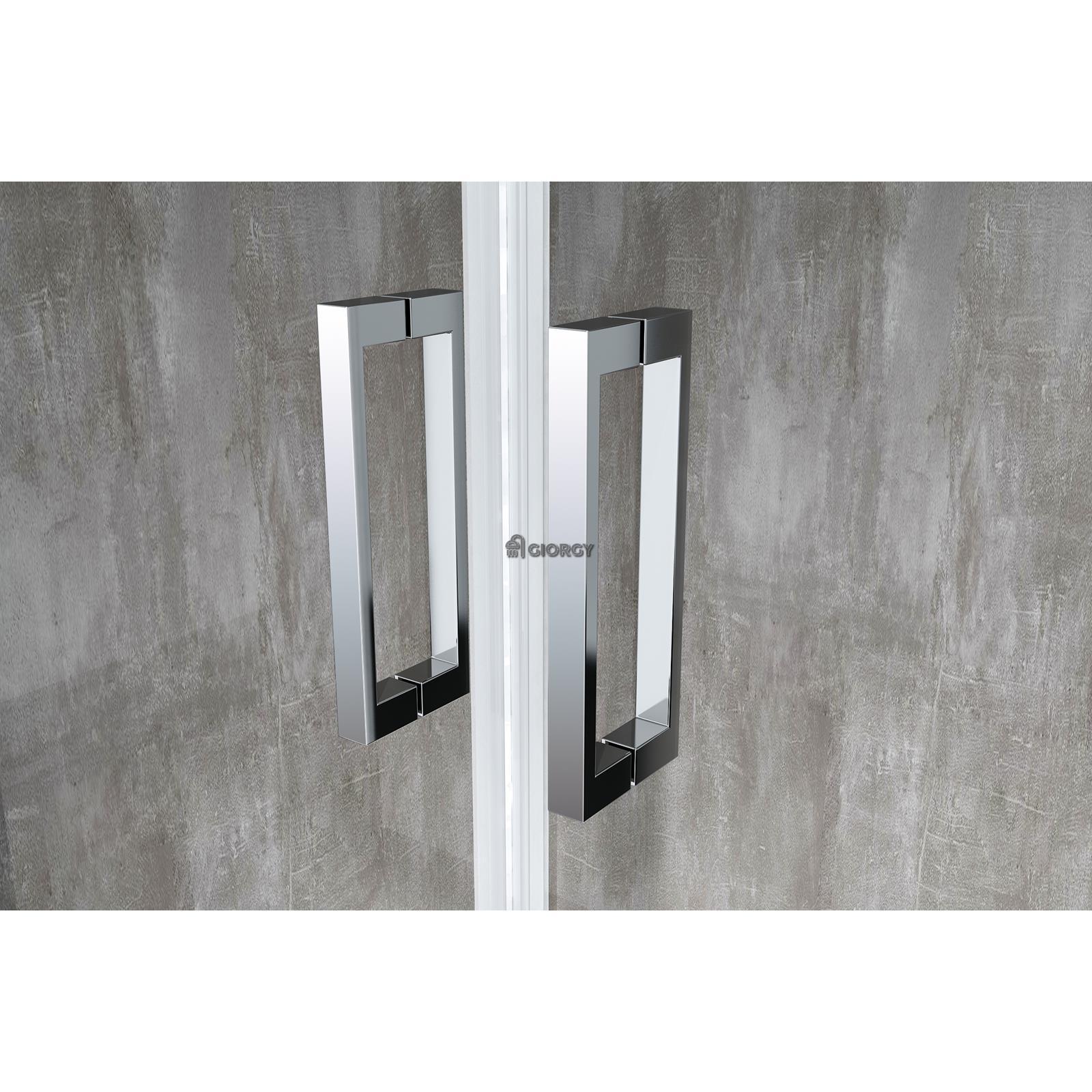Box cabina doccia 2 lati porta saloon lato fisso battente easyclean 6 mm bagno ebay - Porta cabina doccia ...