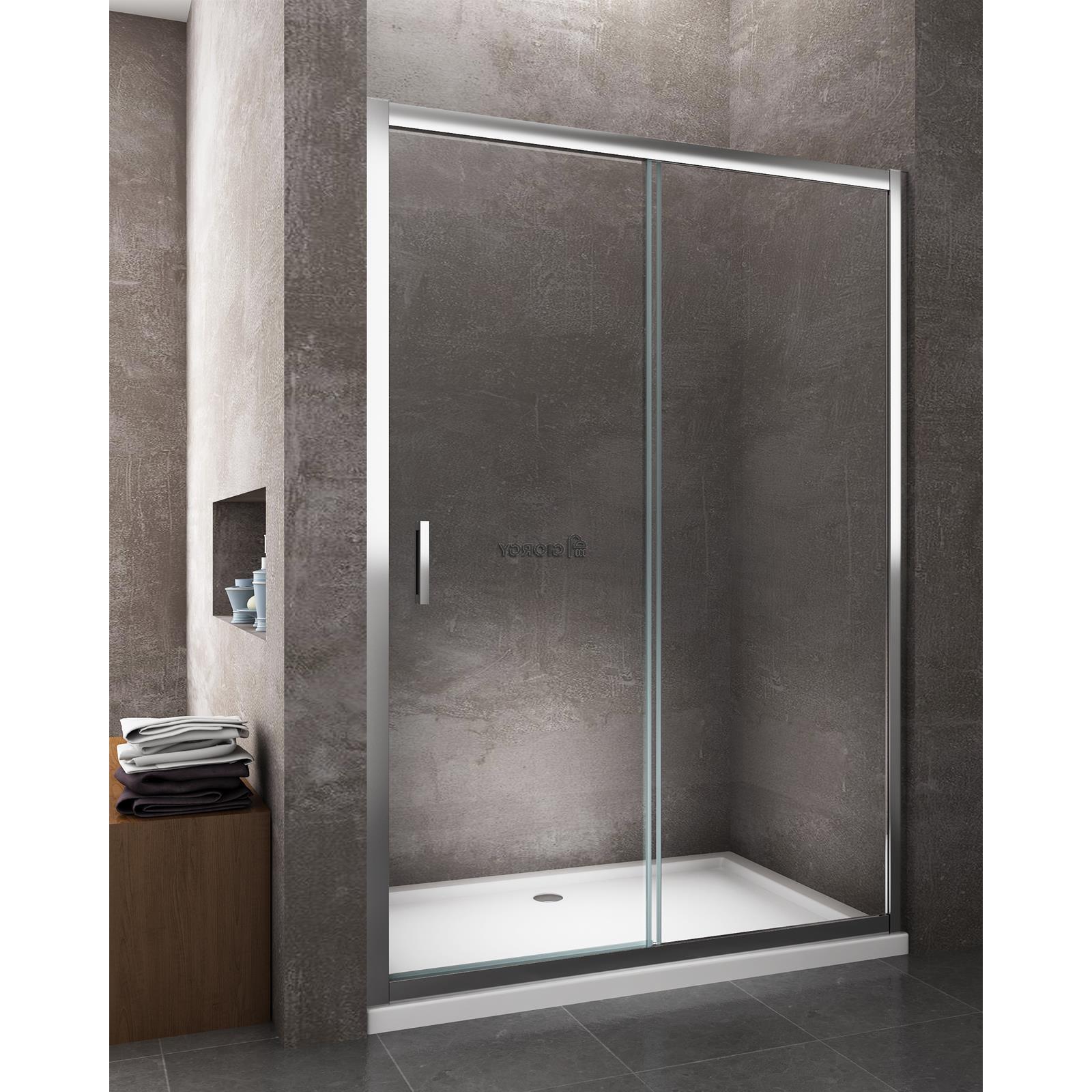 Porta doccia scorrevole per nicchia cromo cristallo 6 mm - Chiusura per porta scorrevole ...