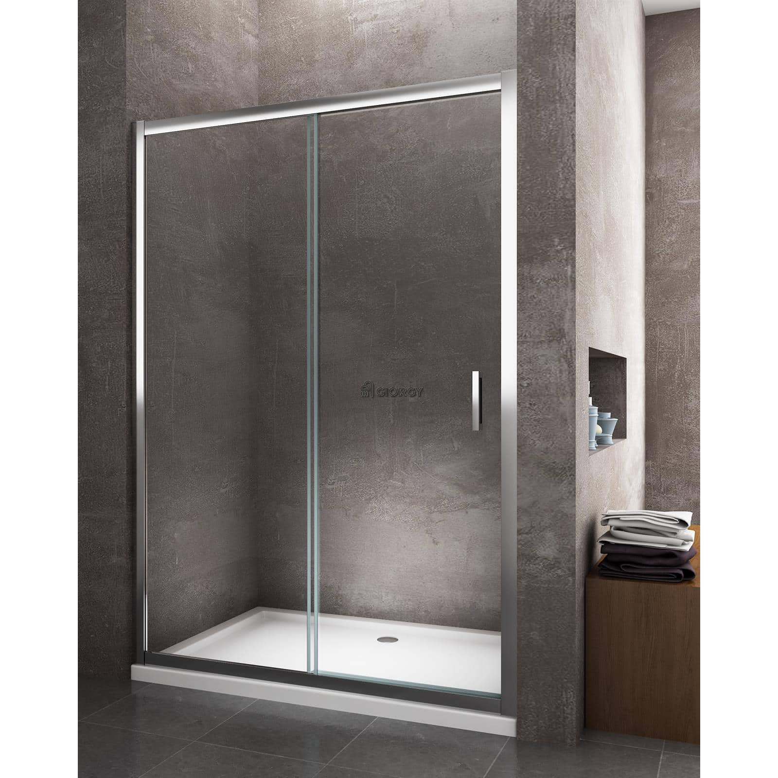 porte douche glissant niche 110 111 112 113 114 115 h 190 cm cristal 6 mm ebay. Black Bedroom Furniture Sets. Home Design Ideas