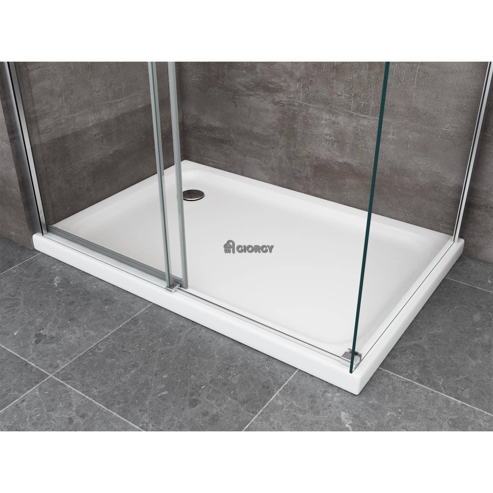 Box doccia 8 mm cristallo fisso porta anta scorrevole cabina bagno anticalcare ebay - Porta in cristallo scorrevole ...