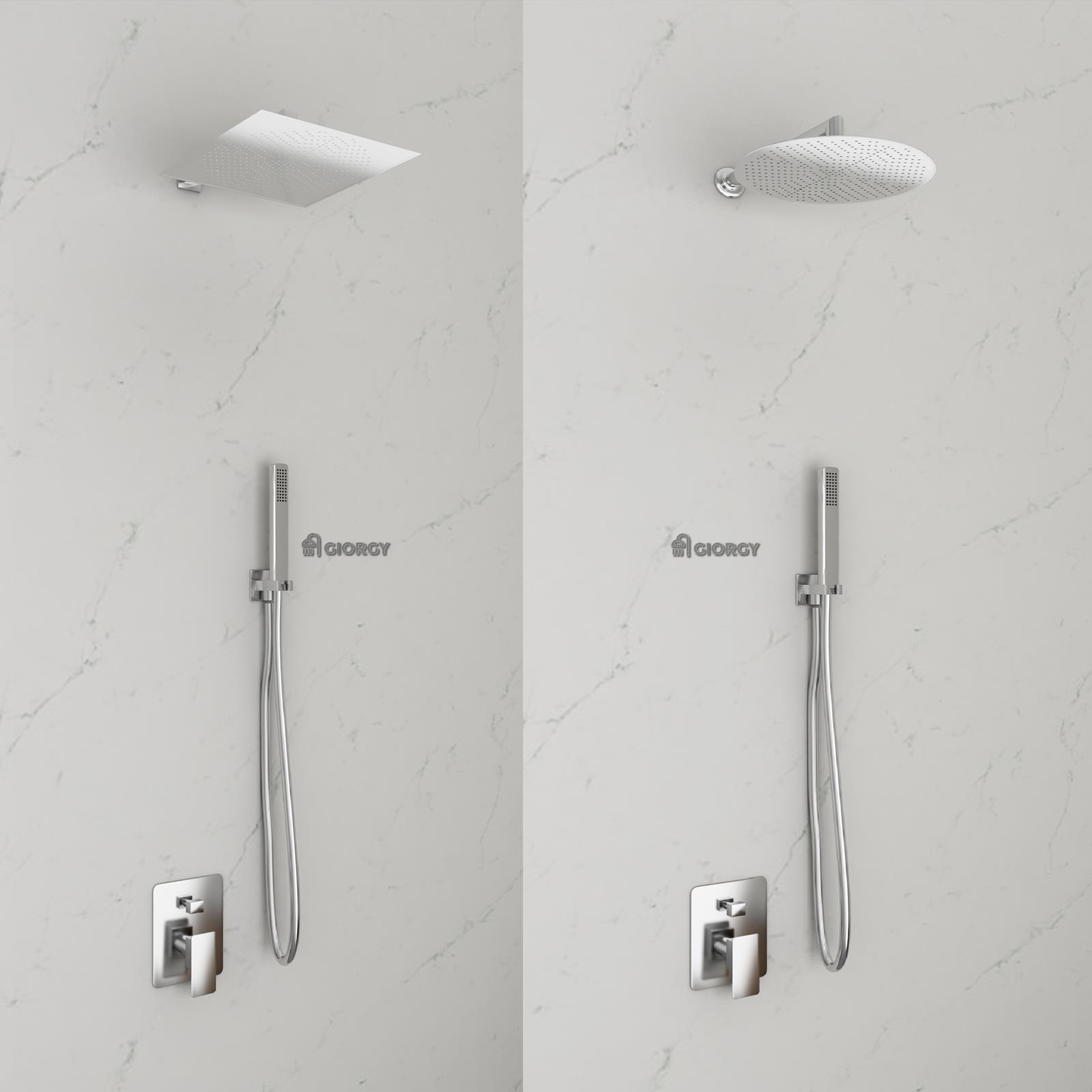 Kit doccia soffione inox slim braccio doccia miscelatore da incasso presa acqua ebay - Soffione doccia da incasso ...
