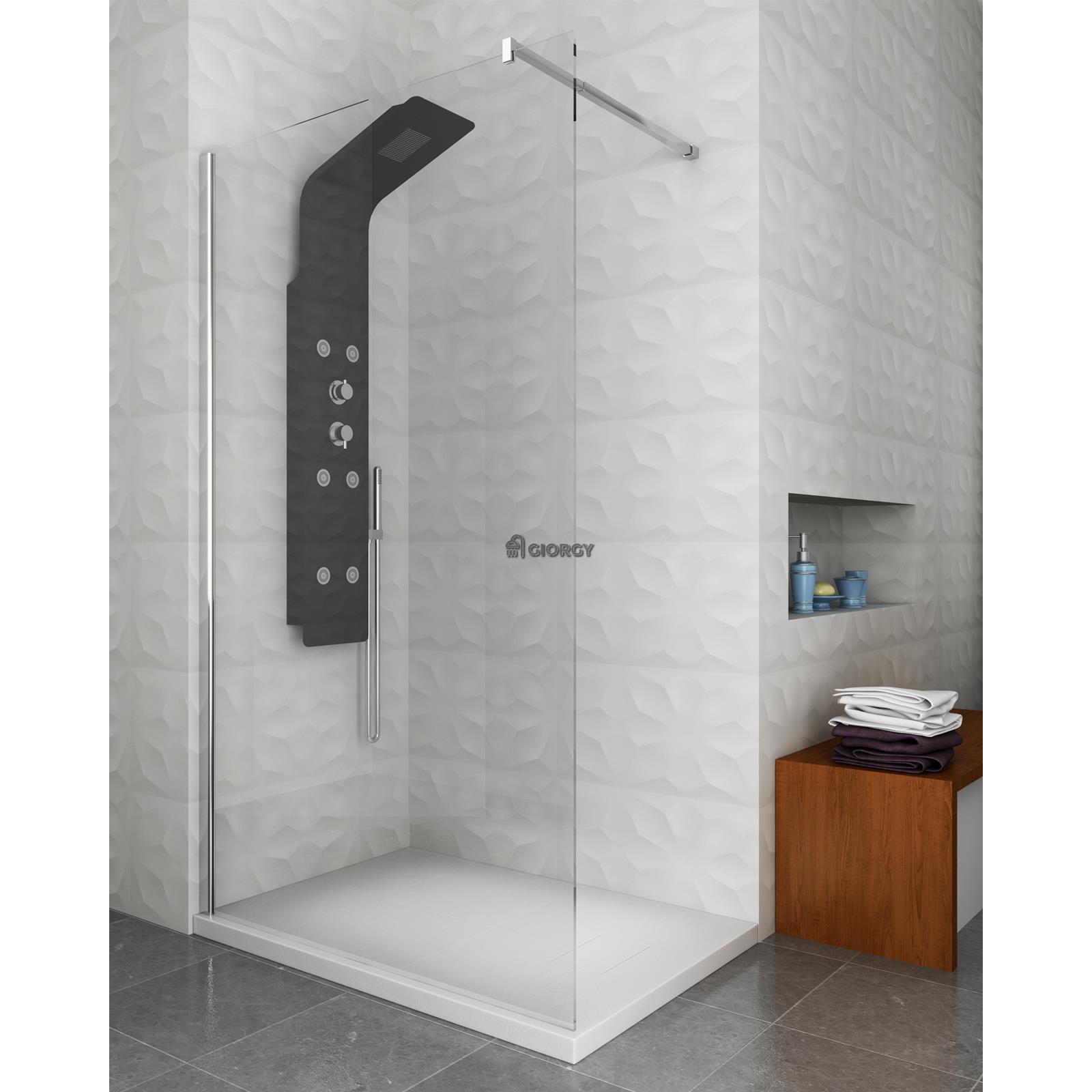 Pannello colonna doccia idromassaggio alluminio nero doccino soffione bagno idro ebay - Siliconare box doccia interno o esterno ...