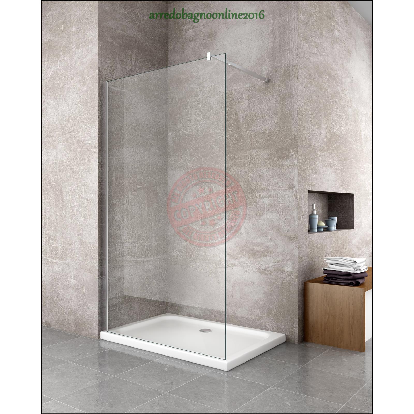 Walk in parete doccia fissa lato fisso 100 vetro 8 mm - Box doccia anziani ...