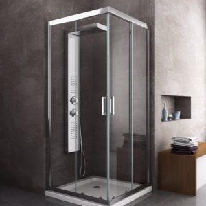 Box cabina doccia in cristallo temperato quadrato con trattamento easyclean anticalcare e profilo cromato
