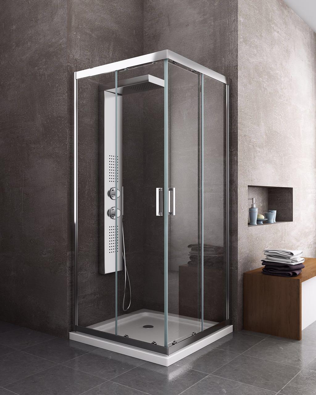 Box cabina doccia scorrevole quadrato 6 mm cromo for Un bagno in cabina