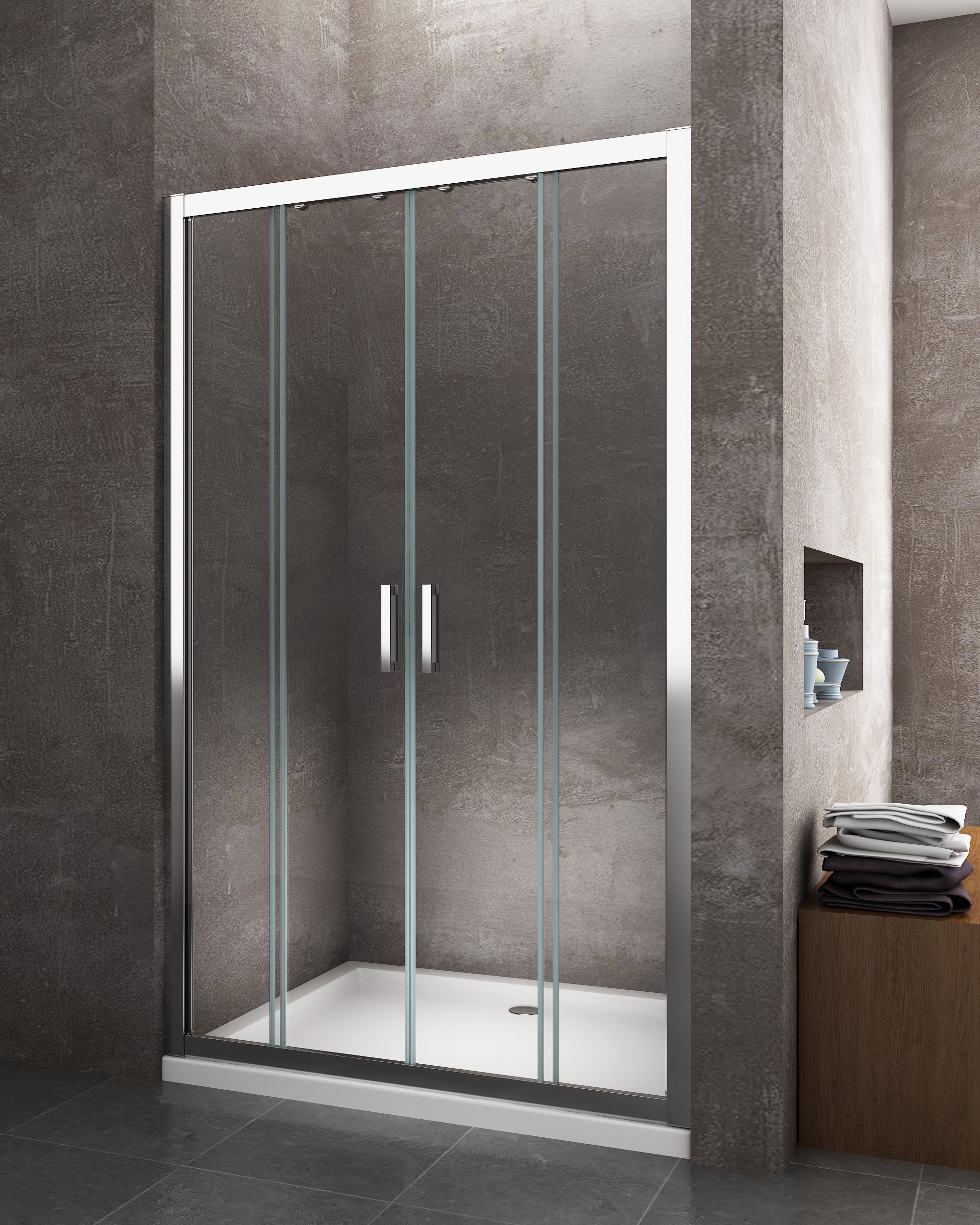 4 ante porta scorrevole nicchia apertura centrale giorgyshopgiorgyshop - Box doccia senza telaio ...