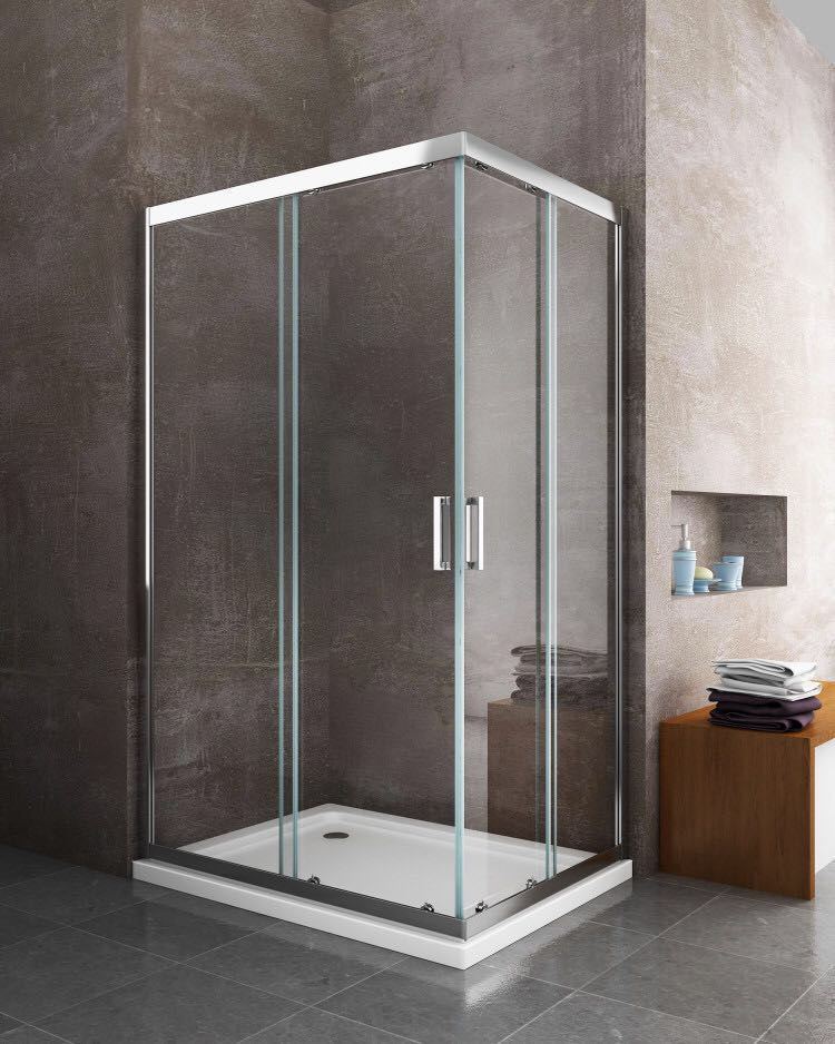 Box cabina doccia scorrevole rettangolare 6 mm cromo giorgyshopgiorgyshop - Vetro doccia scorrevole ...