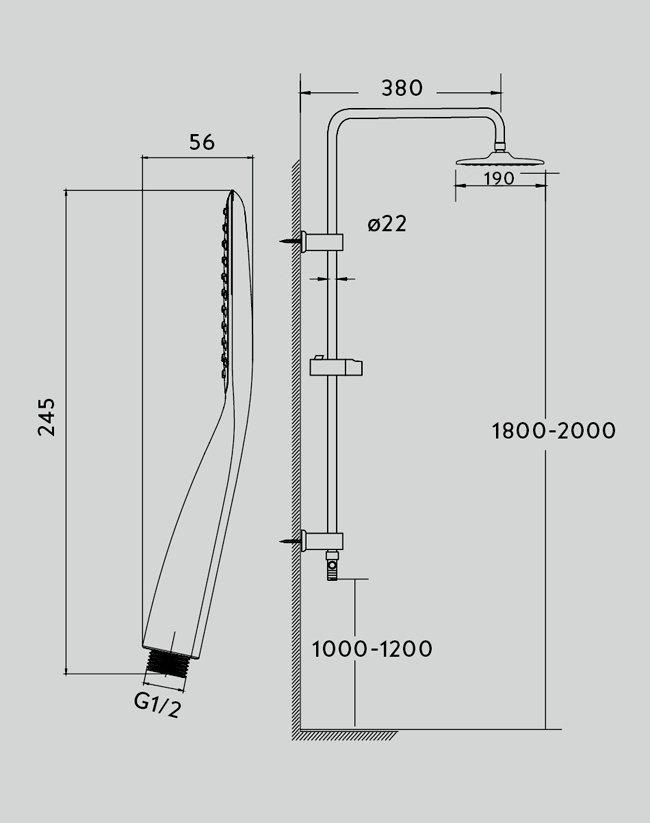disegno tecnico colonna doccia a ponte in ottone con soffione e doccino