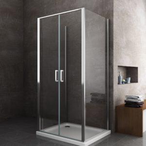box doccia quadrato porta due ante a battente