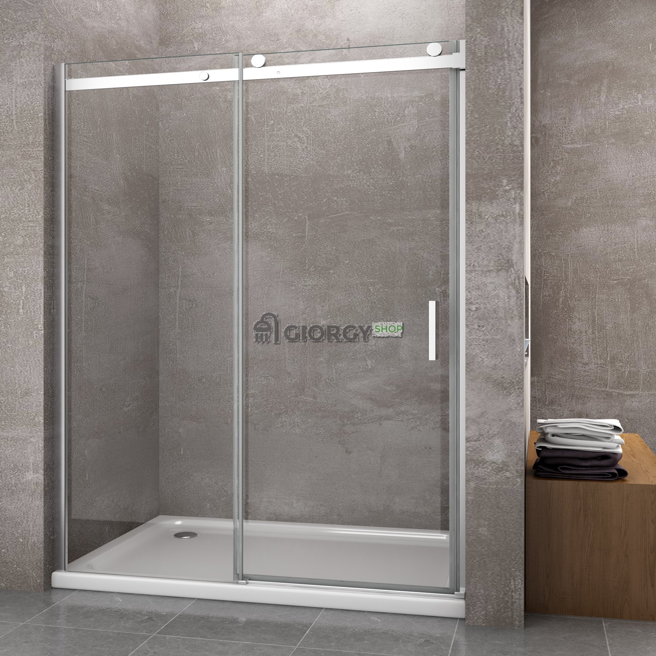 Porta doccia per nicchia 8 mm apertura scorrevole - Porta per doccia a nicchia ...
