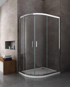 box doccia semicircolare apertura angolare porta a battente