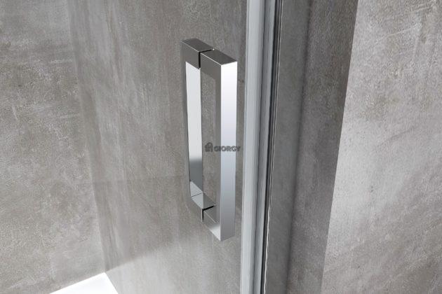 dettaglio maniglia porta box doccia alluminio cromato