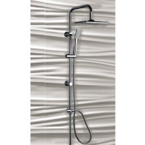 colonna doccia a ponte soffione cervicale rettangolare e doccino