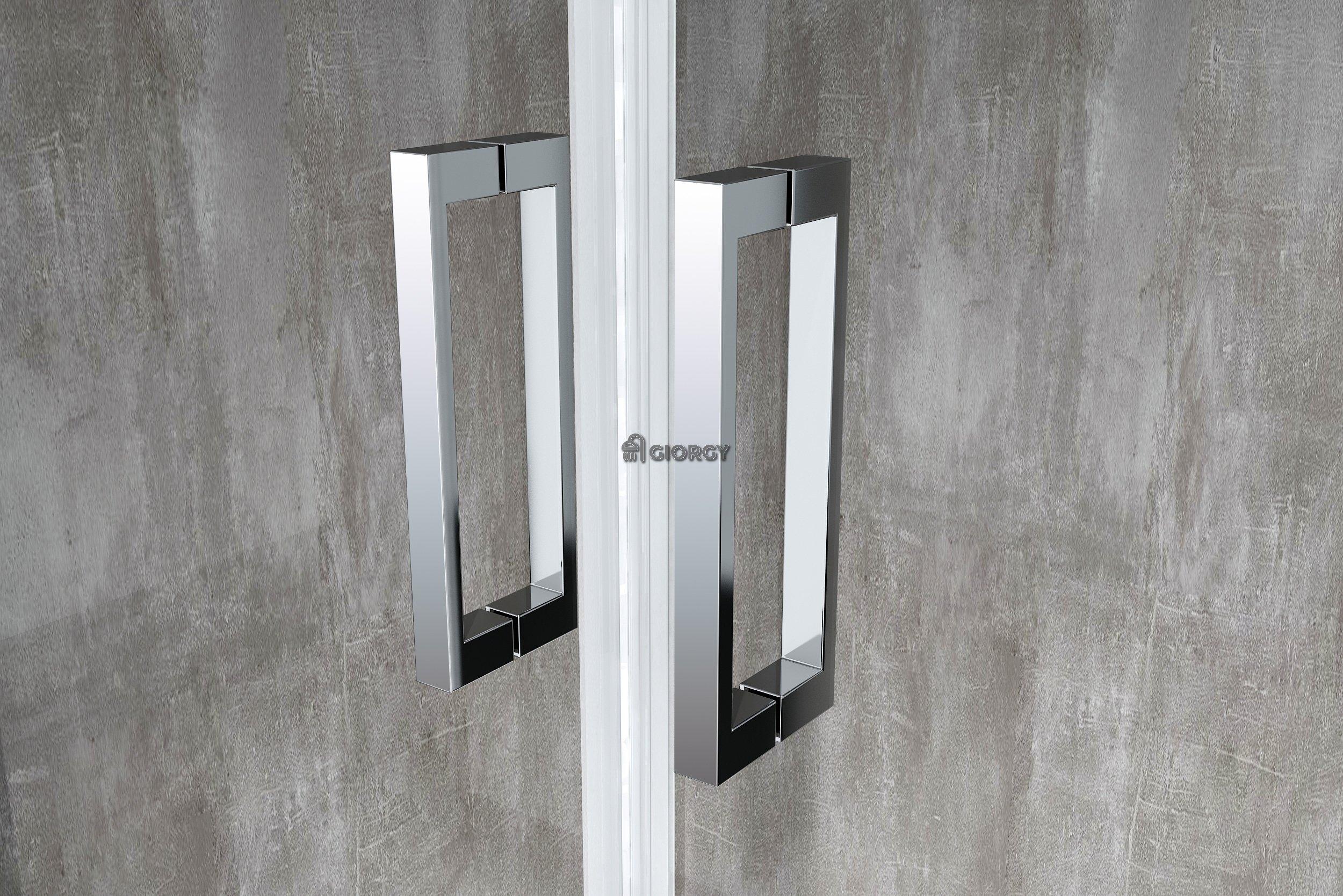 Porta battente saloon 2 lati fissi box doccia 6 mm cromo for Porta battente