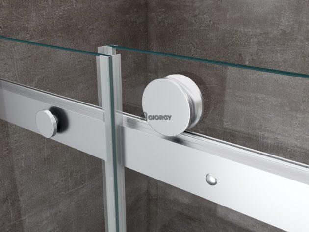 dettaglio profili porta scorrevole box doccia alluminio vetro