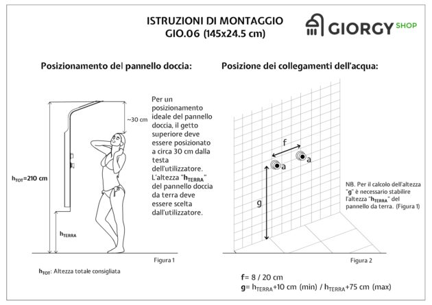 Istruzioni montaggio colonna doccia idromassaggio a tre vie in alluminio nero