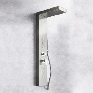 colonna doccia idromassaggio in acciaio lucido