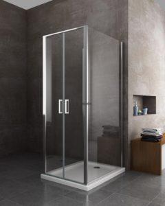 box doccia quadrato porta con ante a battente arredo bagno