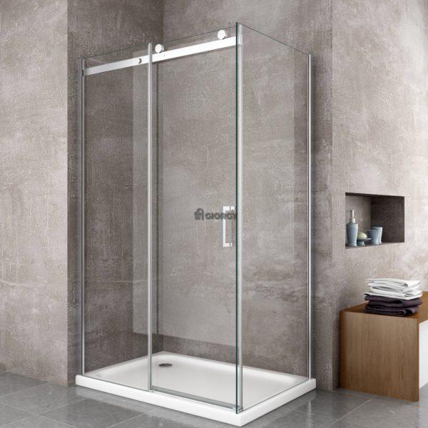 8mm box doccia anta scorrevole e cristallo fisso for Box doccia scorrevole