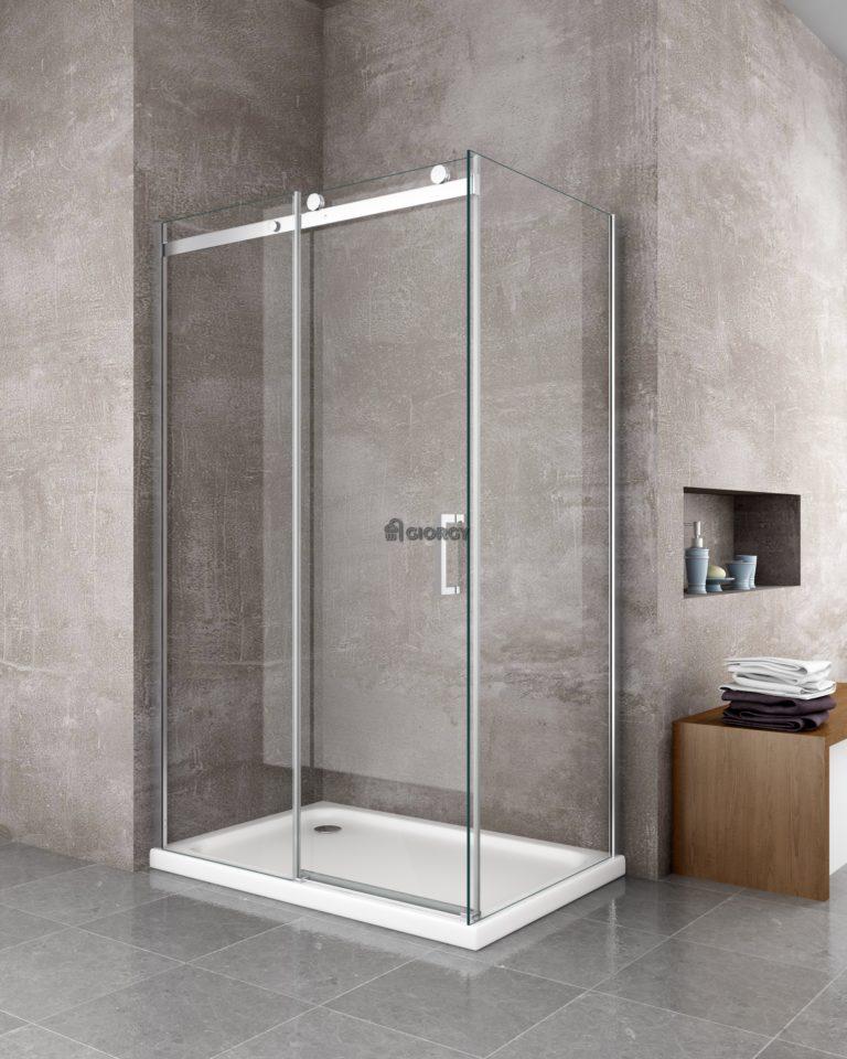 box doccia rettangolare porta scorrevole alluminio vetro