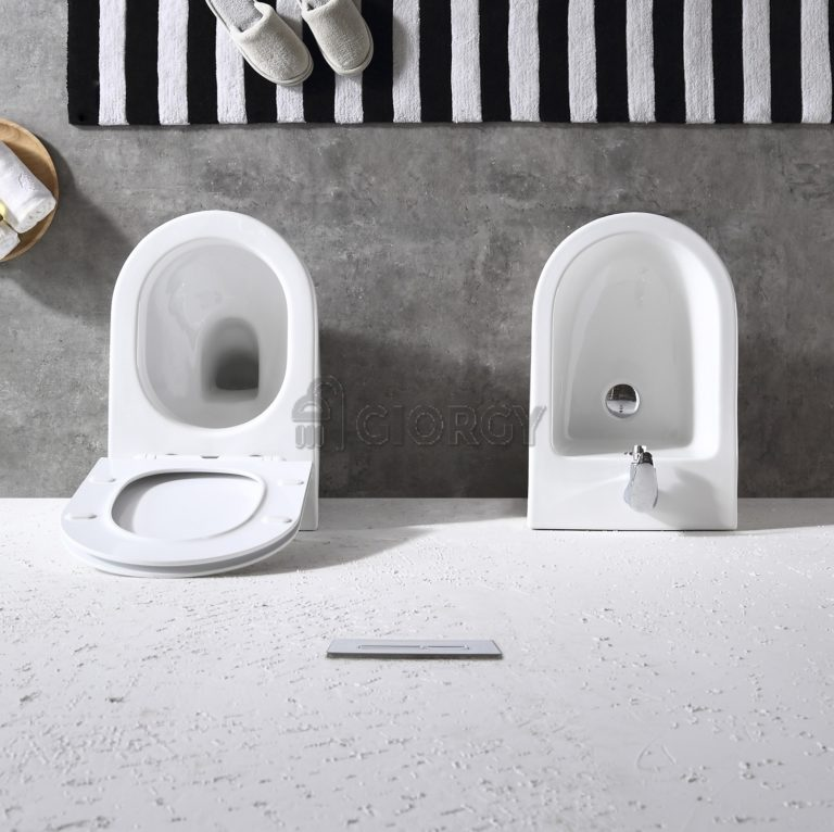 sanitari wc bidet filo muro ceramica bianca forma arrotondata