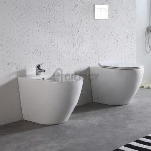 sanitari wc bidet a terra filo muro ceramica bianca forma arrotondata