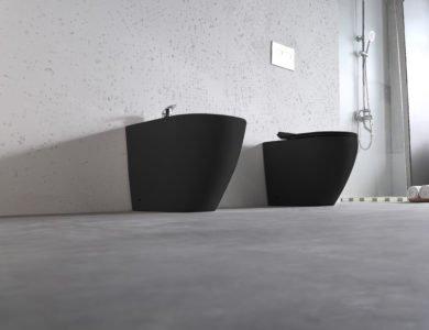 sanitari bagno wc bidet ceramica nera doccia