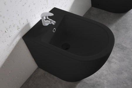 sanitari bagno vaso bidet ceramica nera