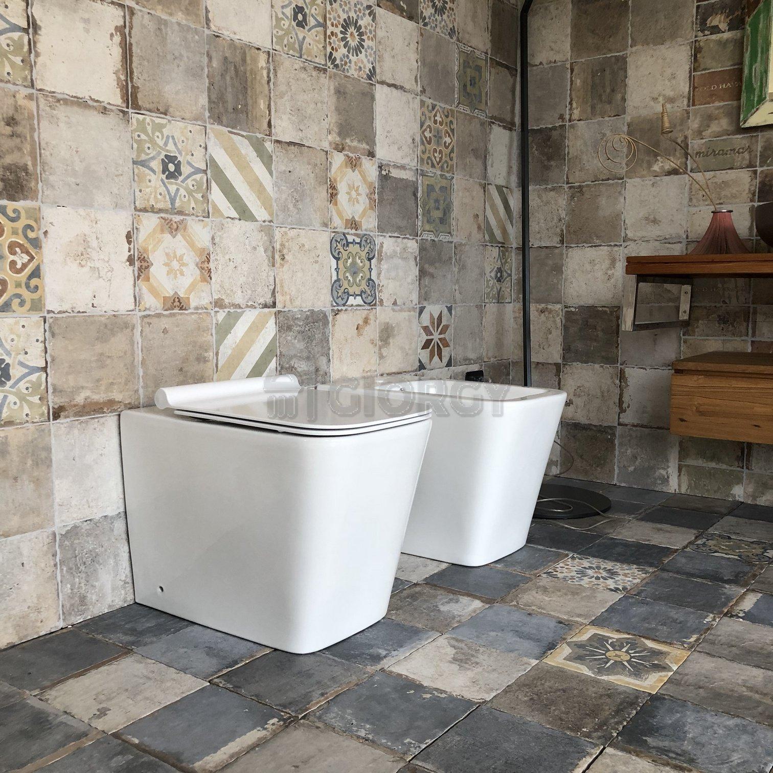 Sanitari a terra coppia filo muro moderno bagno vaso bidet for Offerta sanitari bagno