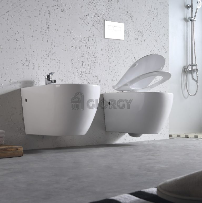 sanitari wc bidet sospesi in ceramica bianca forma arrotondata