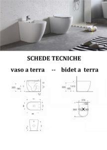 scheda tecnica sanitari wc bidet a terra filo muro colore bianco forma arrotondata