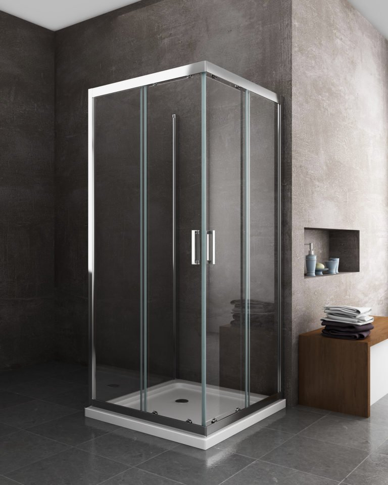 box doccia cristallo cromato alluminio temperato quadrato porta scorrevole