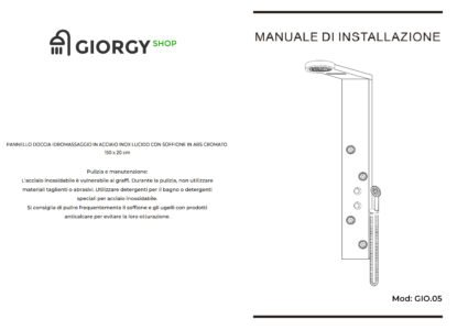 manuale installazione montaggio pannello doccia idromassaggio arredo bagno
