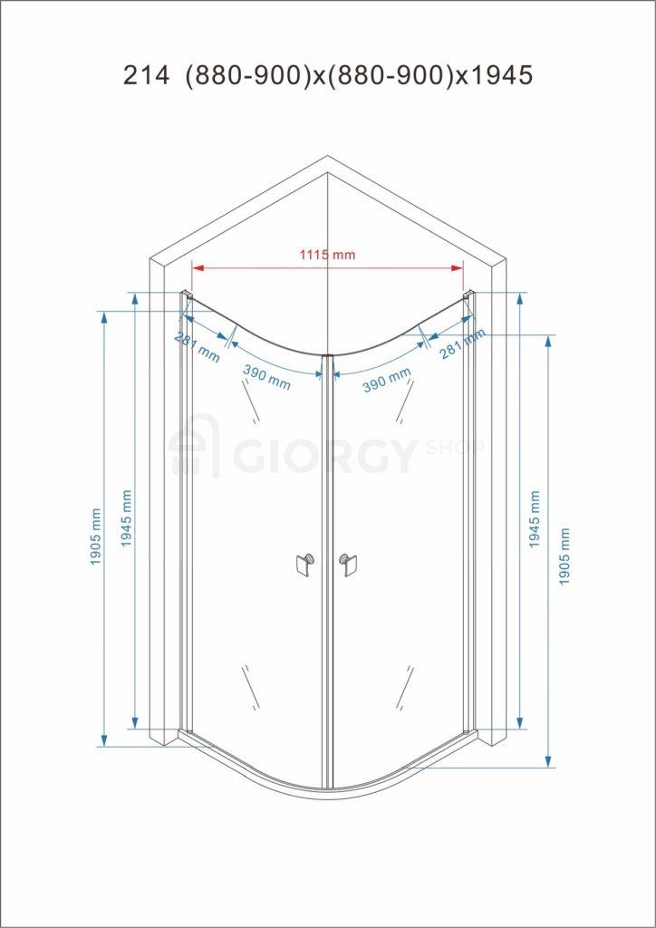 disegno tecnico box doccia