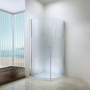 Box doccia curvo semicircolare con porta a battente 90×90