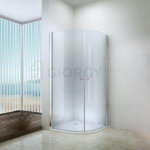 Box doccia curvo semicircolare con porta a battente