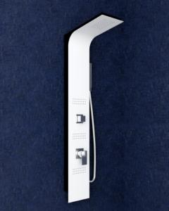 colonna doccia idromassaggio denoiser in alluminio verniciato a polvere bianco e nero