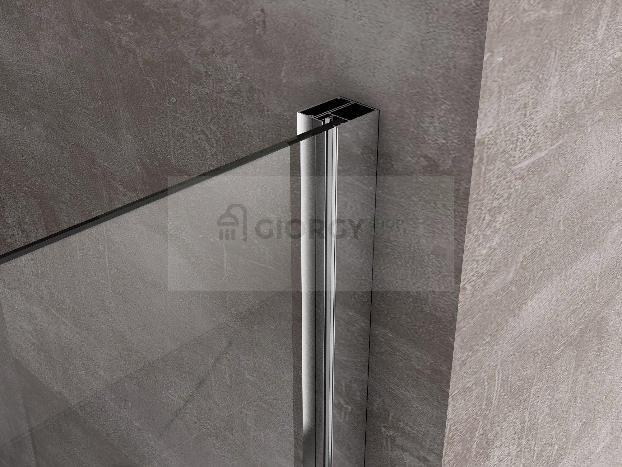 Box doccia rettangolare con porta a battente e parete fissa in