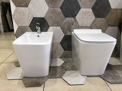 sanitari wc bidet a terra filo muro ceramica bianca forma squadrata arredo bagno