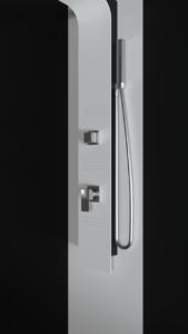 Colonna doccia idromassaggio in alluminio verniciato a polvere bianco e nero