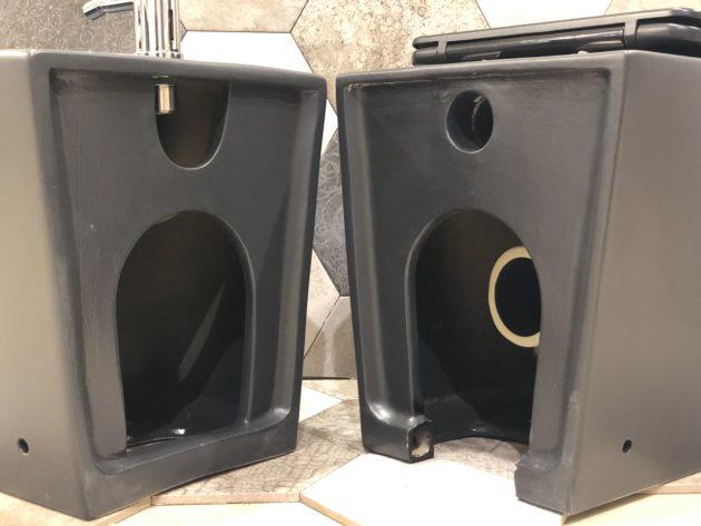 dettaglio attacco wc e bidet filo muro