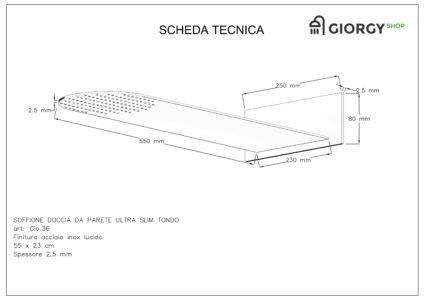 scheda tecnica soffione doccia da parete slim tondo finitura acciaio inox lucido