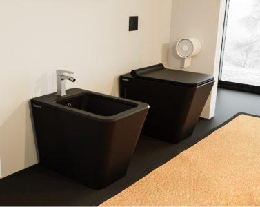 sanitari a terra filo muro bagno ceramica colore nero