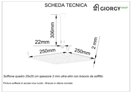 scheda tecnica soffione doccia quadrato con braccio da soffitto