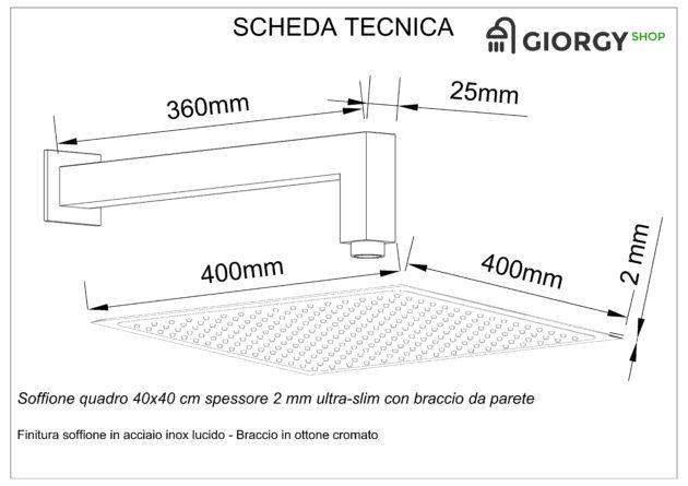 scheda tecnica soffione doccia quadrato con braccio a parete
