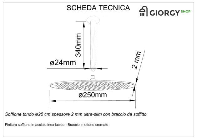 scheda tecnica soffione doccia rotondo con braccio da soffitto