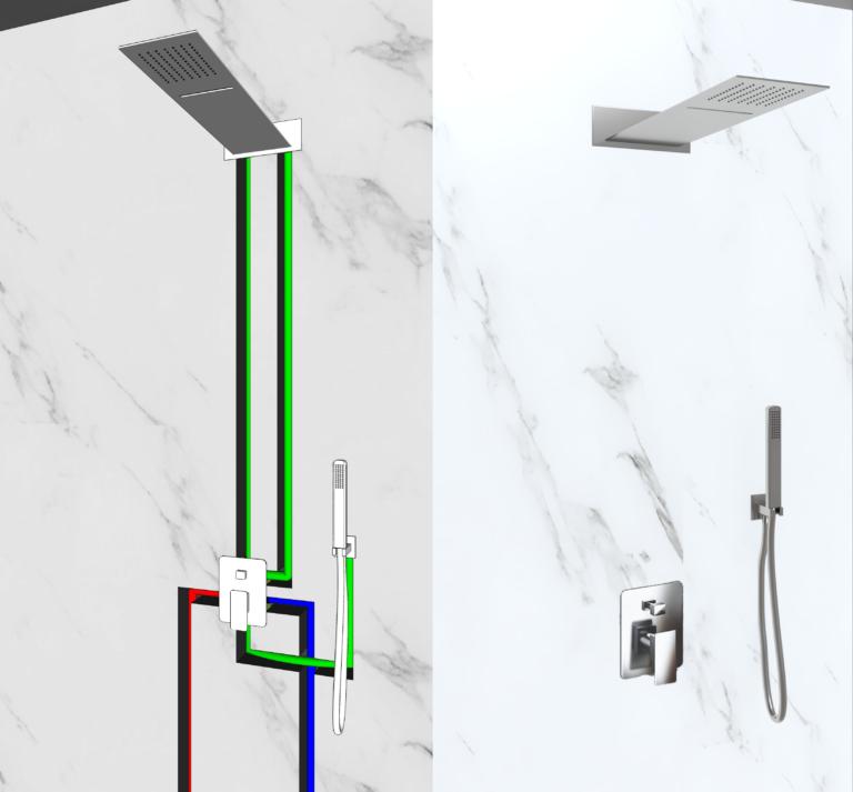 kit doccia soffione a parete quadrato e doccino in acciaio inox