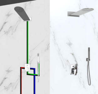 kit doccia soffione a parete e doccino in acciaio inox
